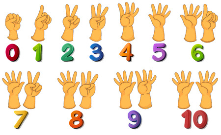 digits: Illustration of a set of number zero to ten Illustration