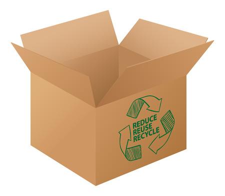 logo reciclaje: Ilustraci�n de una caja con el logo de reciclaje