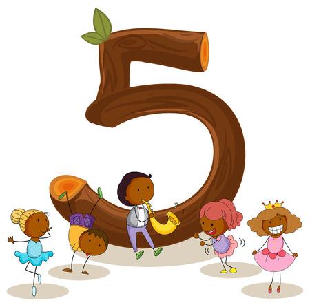 Illustrazione di un numero flashcard cinque