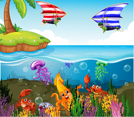 Illustration of a beautiful scene of the ocean Vector
