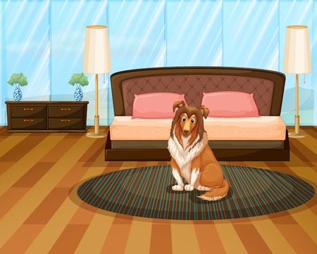 drawing room: Illustration of a dog sitting in a bedroom