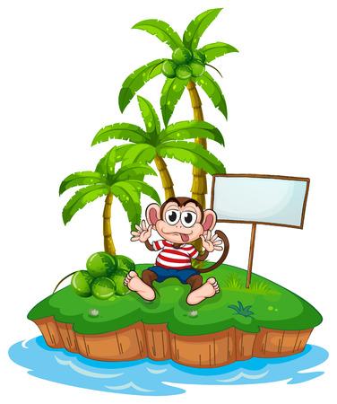 Illustration of a monkey sitting on an island