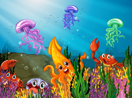 Illustration of many sea animals underwater Vector