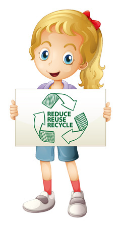Illustration of a girl with a recycling sign Vector