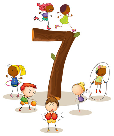 knowledge clipart: Illustration of a flashcard number seven