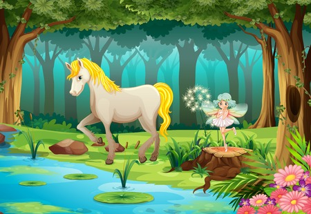enchanted forest: Illustration of a horse in a jungle Illustration