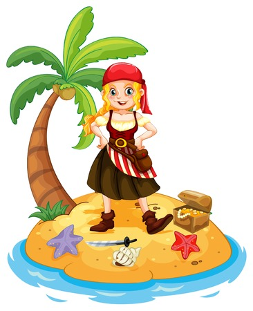 Illustration of a pirate standing on an island Vector