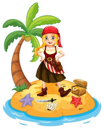 mujer pirata: Ilustración de un pirata que se coloca en una isla
