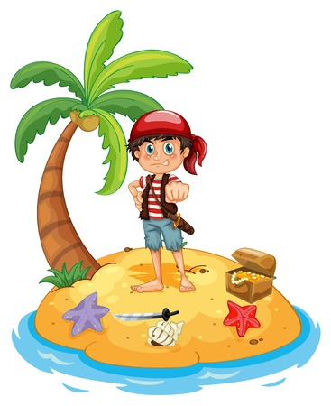 Illustration of a pirate on an island Vector