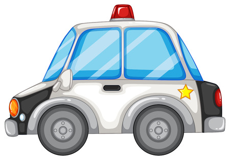 Illustration of a close up police car