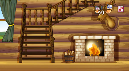 wooden stairs: Illustration of a fireplace inside a house