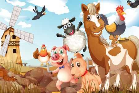 Illustrazione di molti animali in una fattoria