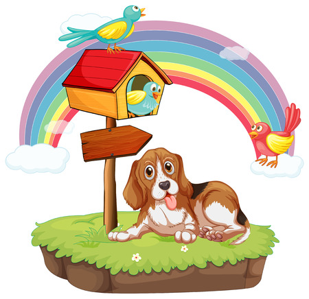 Illustration of a dog sitting under a birdhouse Vector