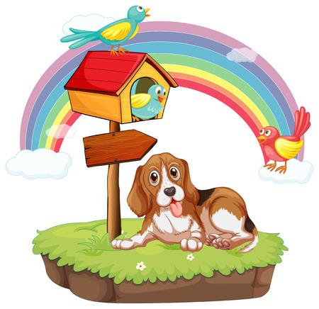 Illustration of a dog sitting under a birdhouse Vector