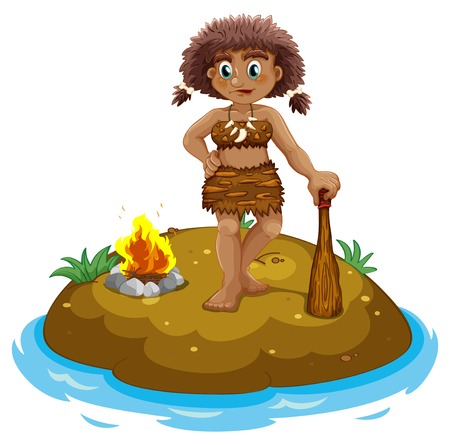 Illustration of a caveman standing on an island Vector