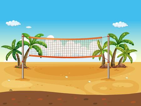 浜のバレーボールのイラスト  イラスト・ベクター素材