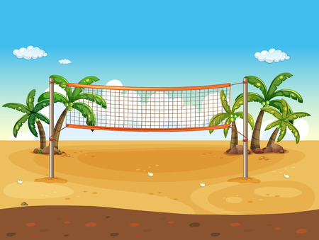 seaside: Illustration of a beach volleyball