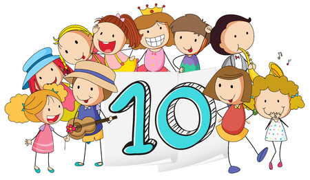 knowledge clipart: Illustration of a flashcard number ten