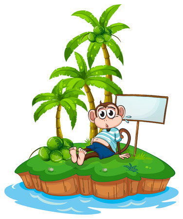 scratching: Illustration of a monkey sitting on an island