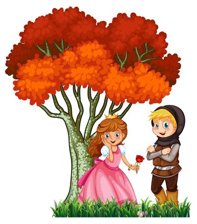 enamorados caricatura: ilustración de una pareja de cuento de hadas Vectores