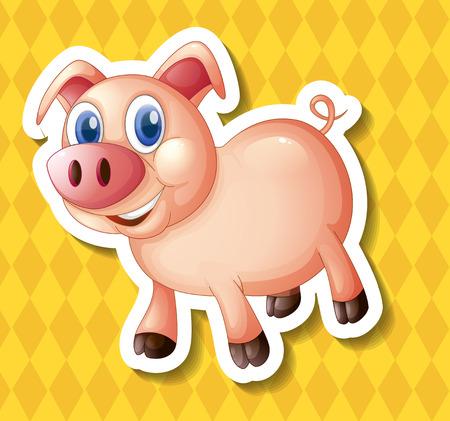 smile close up: illustration of a close up pig