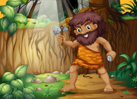 illustration of a caveman in the jungle Vector
