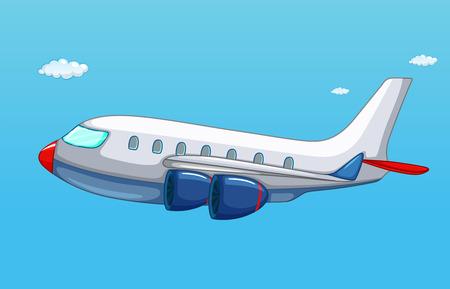 空を飛んでいる飛行機のイラスト  イラスト・ベクター素材