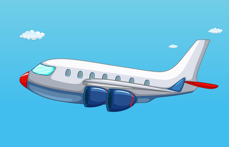 mosca caricatura: ilustración de un avión volando en el cielo Vectores