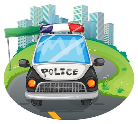 politieauto: illustratie van een close-up politieauto