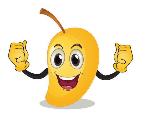 low calories: illustration of a mango with arms