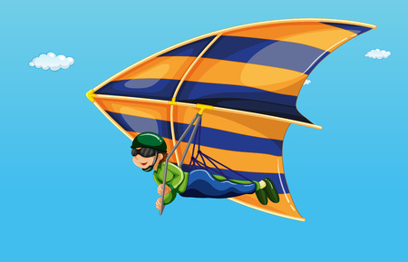gliding: illustration of a man doing hang gliding