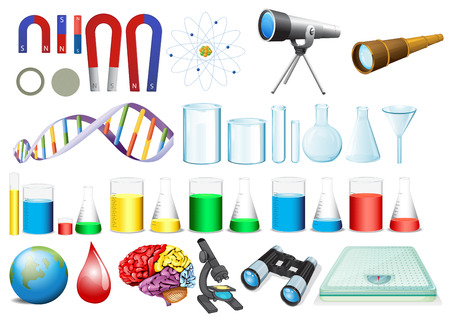 science chemistry: illustration of a set of science equipments