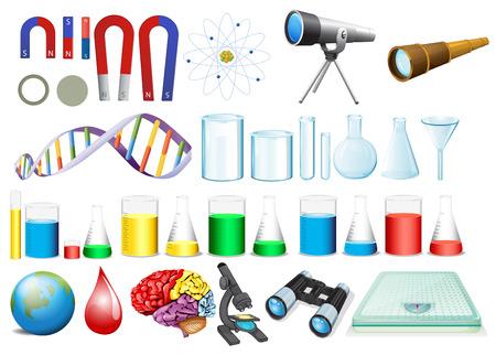 balanza de laboratorio: Ilustración de un conjunto de equipos de ciencias Vectores
