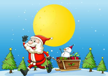 scene season: illustration of a santa and presents