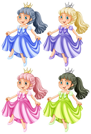 illustration of many princess Vector