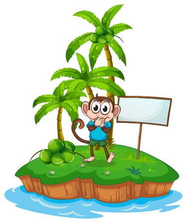 illustration of a monkey standing on an island Vector