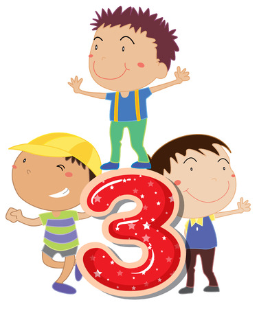 knowledge clipart: illustration of a flashcard number three