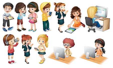 illustration of children working on computer Vector
