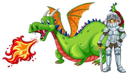 illustratie van een draak en een ridder