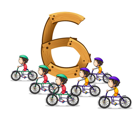 numbers clipart: illustration of a flash card number six