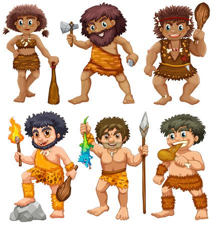 prehistoric age: illustration of a set of cavemen