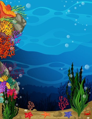 tropical fish: illustration of a view underwater