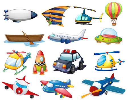 ilustrace různých druhů dopravy