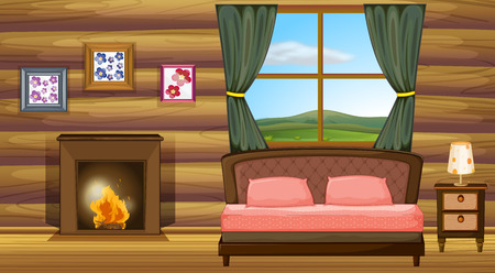 cartoon fireplace: illustration of a bedroom with fireplace