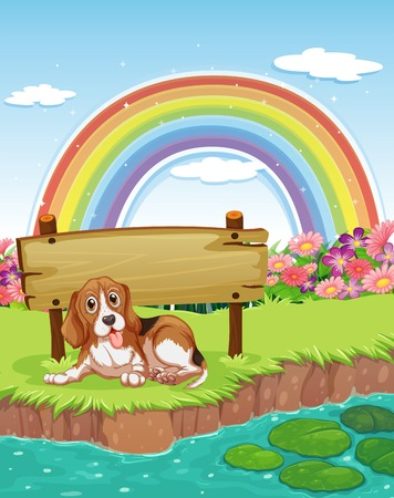 illustration of a dog sitting by the river bank Vector