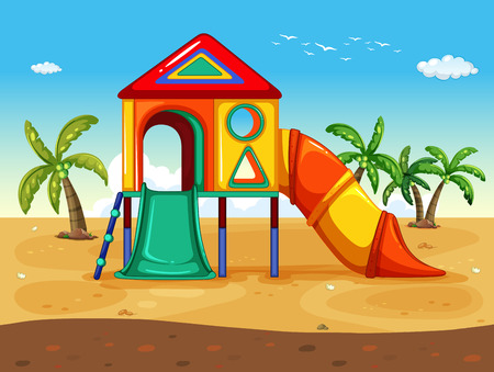 toy house: illustration of playground on the beach Illustration