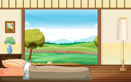 illustration of a bedroom with a view