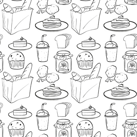 salty: illustration of a seamless food and drinks Illustration