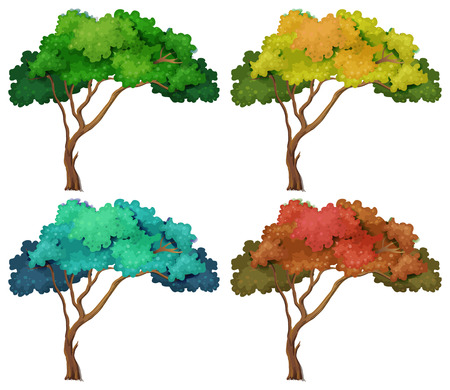 illustration of different color trees Vector