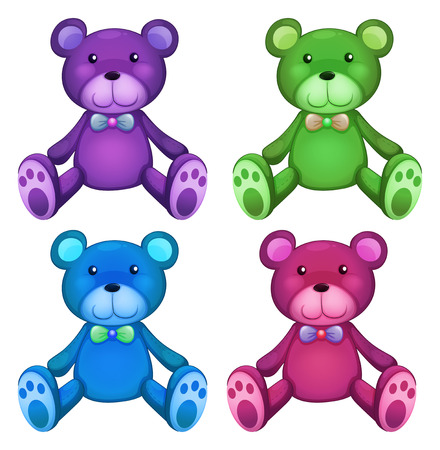 stuffed animals: illustration of different color teddy bears Illustration